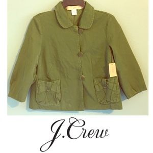 J. Crew Garment Dyed Swing Jacket Green Chino NWT